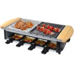 Syntrox RAC-1200W-Uri Edelstahl Raclette Grillplatte und Heißem Stein